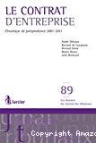 Le Contrat d'entreprise : chronique de jurisprudence 2001-2011
