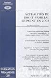 Actualités de droit familial : le point en 2003